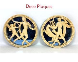 Lot 1482 2pc Blue mirror Art Deco Plaques