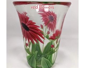 Lot 1486 BEYERS Art glass vase with red flowers