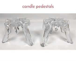Lot 1489 2 large frosted candle pedestals