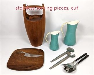 Lot 1491 Dansk teak Ice bucket and stainless serving pieces, cut