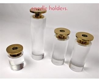 Lot 1492 4 Lucite and brass candle holders.