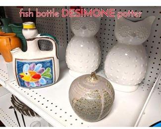 Lot 1500 Shelf lot Pottery owls and fish bottle DESIMONE potter