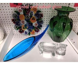 Lot 1501 Shelf lot Pansy plate, Hippo crystal and cobalt glass
