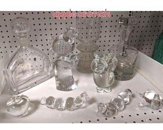 Lot 1503 Shelf lot Clear glass bottles apple animals