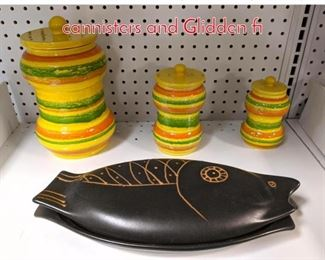 Lot 1511 Bardelli Italy Yellow pottery cannisters and Glidden fi