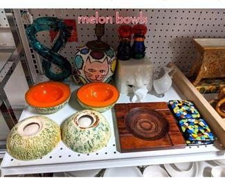 Lot 1514 Midcentury lot, Art glass, lamp melon bowls