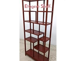 Lot 1157 Red Painted Asian Style Etagere Shelf.