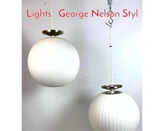 Lot 1160 Pair of Contemporary Bubble Lights. George Nelson Styl