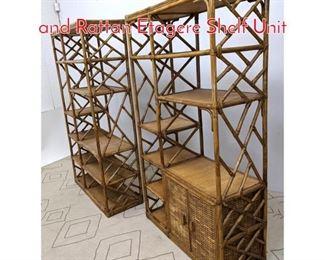 Lot 1163 2pcs McGuire Style Bamboo and Rattan Etagere Shelf Unit