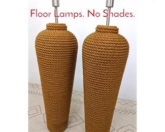 Lot 1171 Pair Oversized Wrapped Rope Floor Lamps. No Shades.