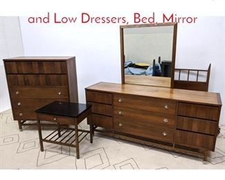 Lot 1178 STANLEY Bedroom Set. High and Low Dressers, Bed, Mirror