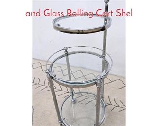 Lot 1179 Decorator Multi Tier Chrome and Glass Rolling Cart Shel