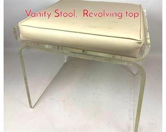 Lot 1185 70s Modern Lucite Acrylic Vanity Stool. Revolving top.