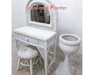 Lot 1186 3pcs lot White Wicker Vanity, stool and Planter