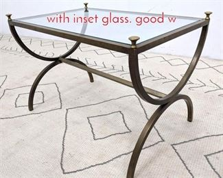 Lot 1189 Regency style side table brass with inset glass. good w