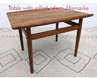 Lot 1192 Danish Modern Side End Table with rolled edges. Unmarke