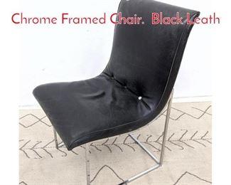 Lot 1194 Milo Baughman Armless Chrome Framed Chair. Black Leath