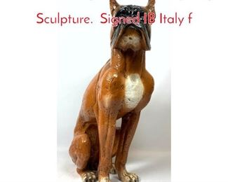 Lot 1196 Large Italian Pottery Dog Sculpture. Signed IB Italy f