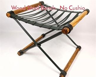 Lot 1198 Cleo Baldon Black Iron and Wood Stool Bench. No Cushio