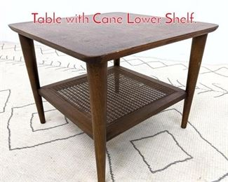 Lot 1199 LANE American Modern Side Table with Cane Lower Shelf.