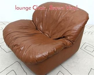 Lot 1201 Mid Century Modern Slouch lounge Chair. Brown Vinyl.