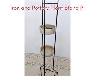 Lot 1204 Mid Century Modern Tall Iron and Pottery Plant Stand Pl