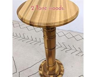 Lot 1205 Turned Wood Pedestal Table. 2 Tone woods.
