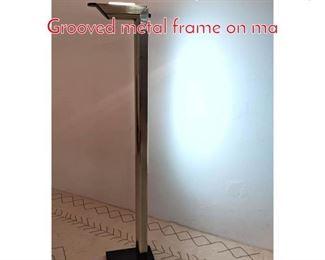 Lot 1206 80s Italian Style Floor Lamp. Grooved metal frame on ma