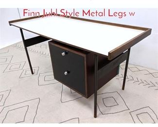 Lot 1209 Mid Century Modern Desk. Finn Juhl Style Metal Legs w