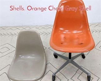 Lot 1212 2 Eames HERMAN MILLER Shells. Orange Chair. Gray Shell