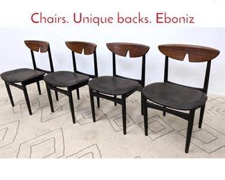 Lot 1217 Set 4 Danish Modern Dining Chairs. Unique backs. Eboniz