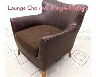 Lot 1219 Mid Century Modern Club Lounge Chair with Angled Tapere