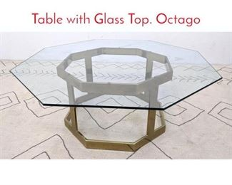 Lot 1220 Brass Tone Coffee Cocktail Table with Glass Top. Octago