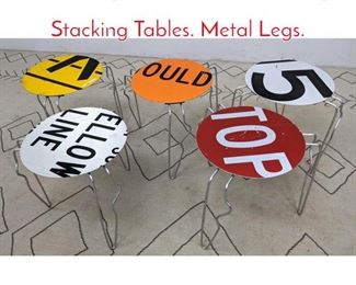 Lot 1226 5pc Set J GREGSON Sign Stacking Tables. Metal Legs.