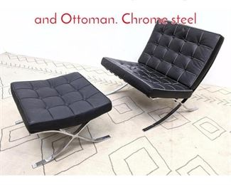 Lot 1227 Barcelona Style Lounge Chair and Ottoman. Chrome steel