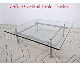 Lot 1229 70s Modern Chrome Glass Coffee Cocktail Table. Thick Gl