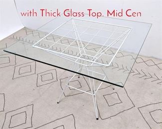 Lot 1231 Hairpin Cafe Dining Table with Thick Glass Top. Mid Cen