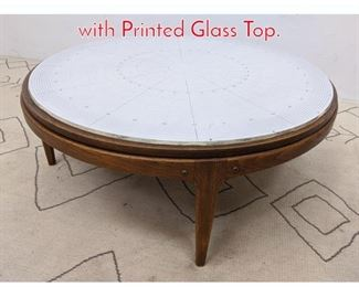Lot 1232 LANE Coffee Cocktail Table with Printed Glass Top.