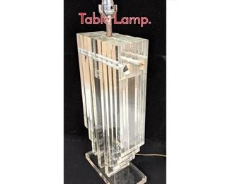 Lot 1239 70s Modern Heavy Lucite Table Lamp.