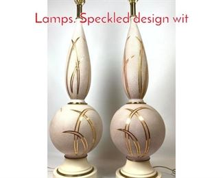 Lot 1243 Pair Large 50s Modern Table Lamps. Speckled design wit