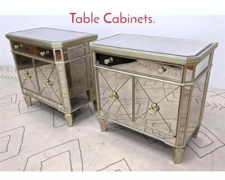 Lot 1244 Pair Mirrored Side Table Cabinets.
