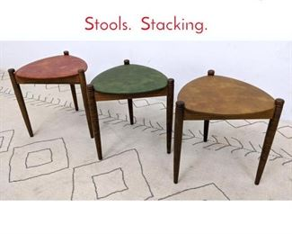 Lot 1248 set 3 50s Modern Triangle Stools. Stacking.
