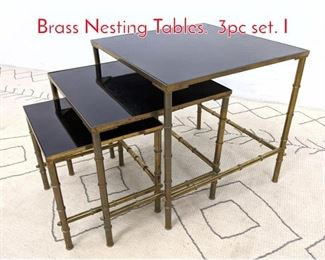 Lot 1249 Decorator Faux Bamboo Brass Nesting Tables. 3pc set. I