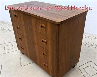 Lot 1250 Danish Modern Teak 4 Drawer Dresser with Wood Handles.