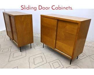 Lot 1256 Pair Mid Century Modern Sliding Door Cabinets.