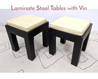 Lot 1267 Pair Mid Century Modern Laminate Stool Tables with Vin
