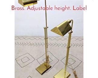 Lot 1271 2pc CHAPMAN Floor Lamp. Brass. Adjustable height. Label