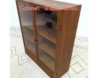 Lot 1274 Danish Modern Teak Wall Cabinet. 2 Glass doors.