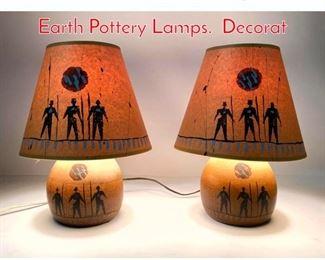 Lot 1275 Pair Michael Schlyer Flat Earth Pottery Lamps. Decorat