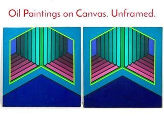 Lot 1278 2pc MAXIME DEFERT 69 Oil Paintings on Canvas. Unframed.